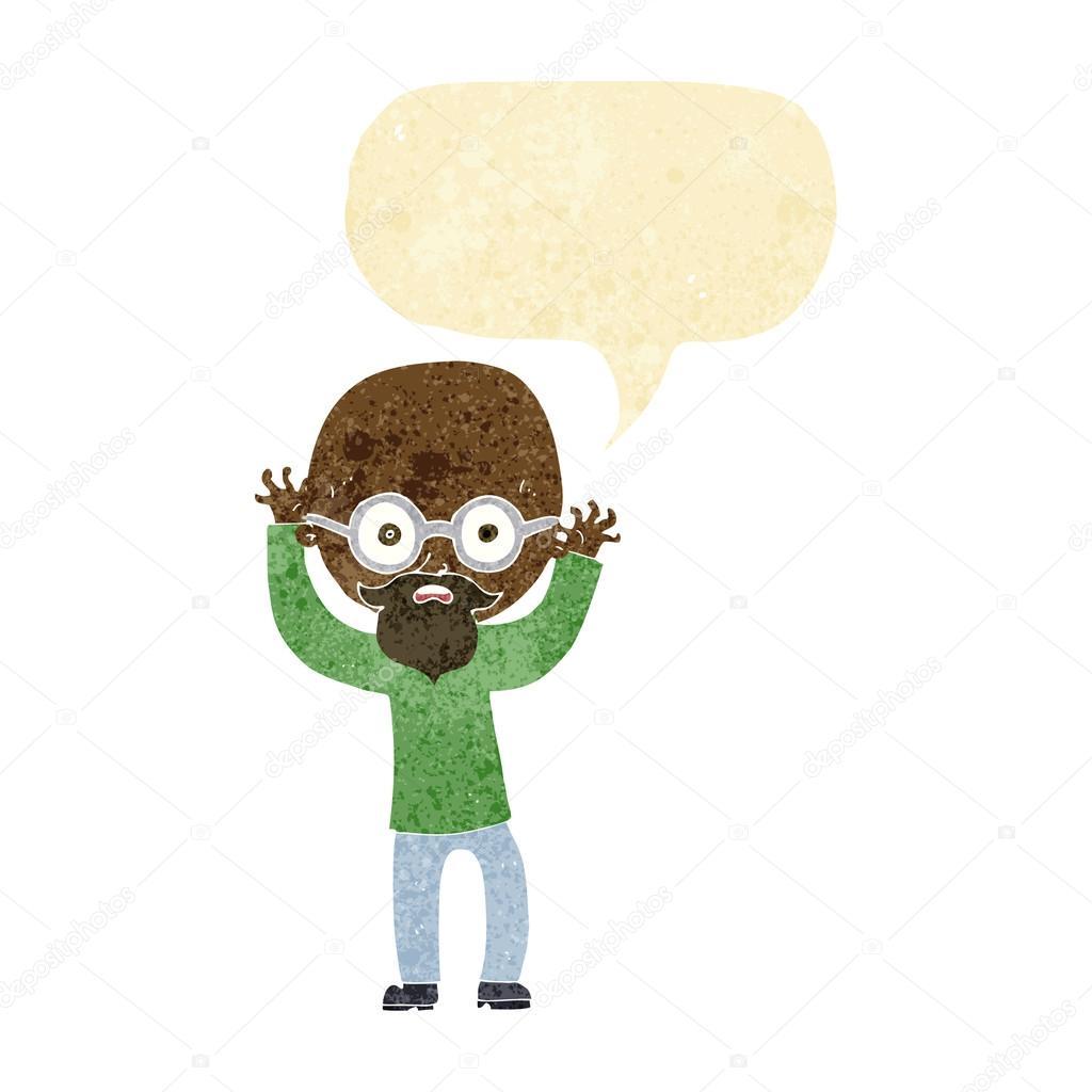 Cartone animato stressato uomo calvo con il fumetto u vettoriali