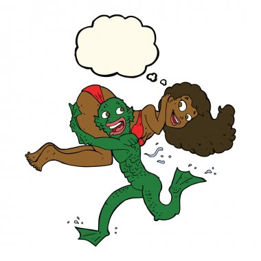 cartoon swamp monster carrying girl in bikini with thought bubbl