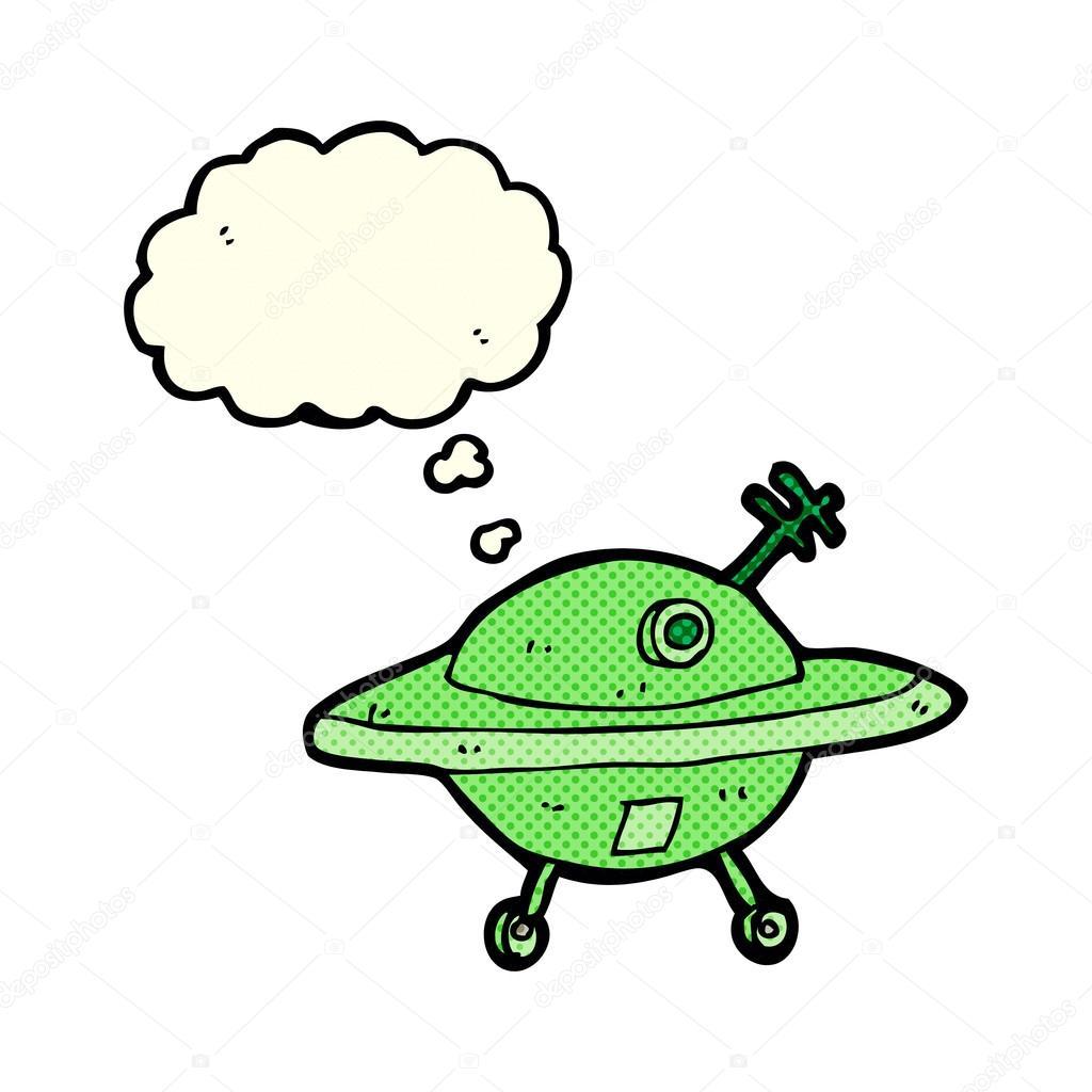 Dessin Soucoupe Volante soucoupe volante dessin animé avec la bulle de pensée — image