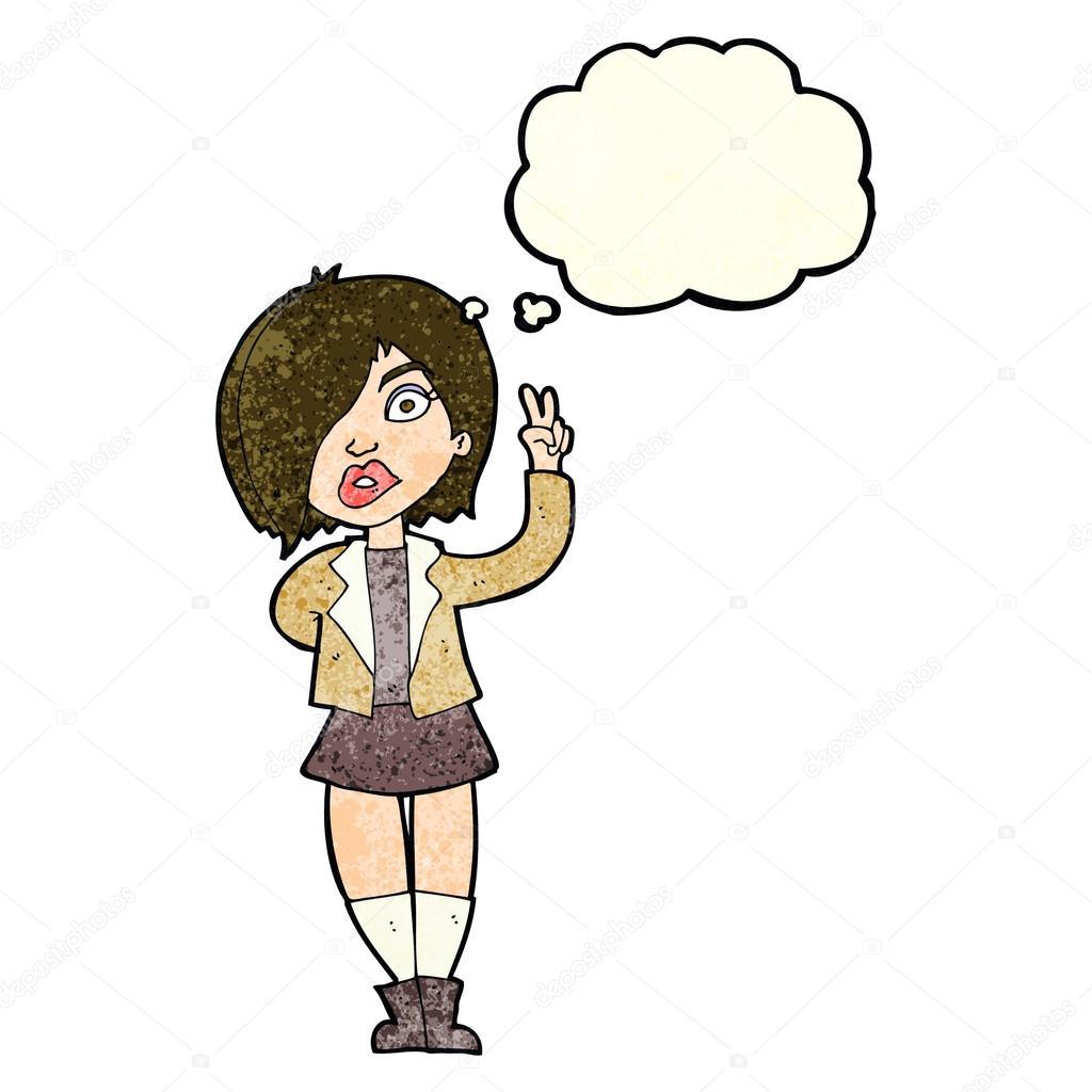 Cartoon Coole Madchen Friedenszeichen Mit Gedanken Blase