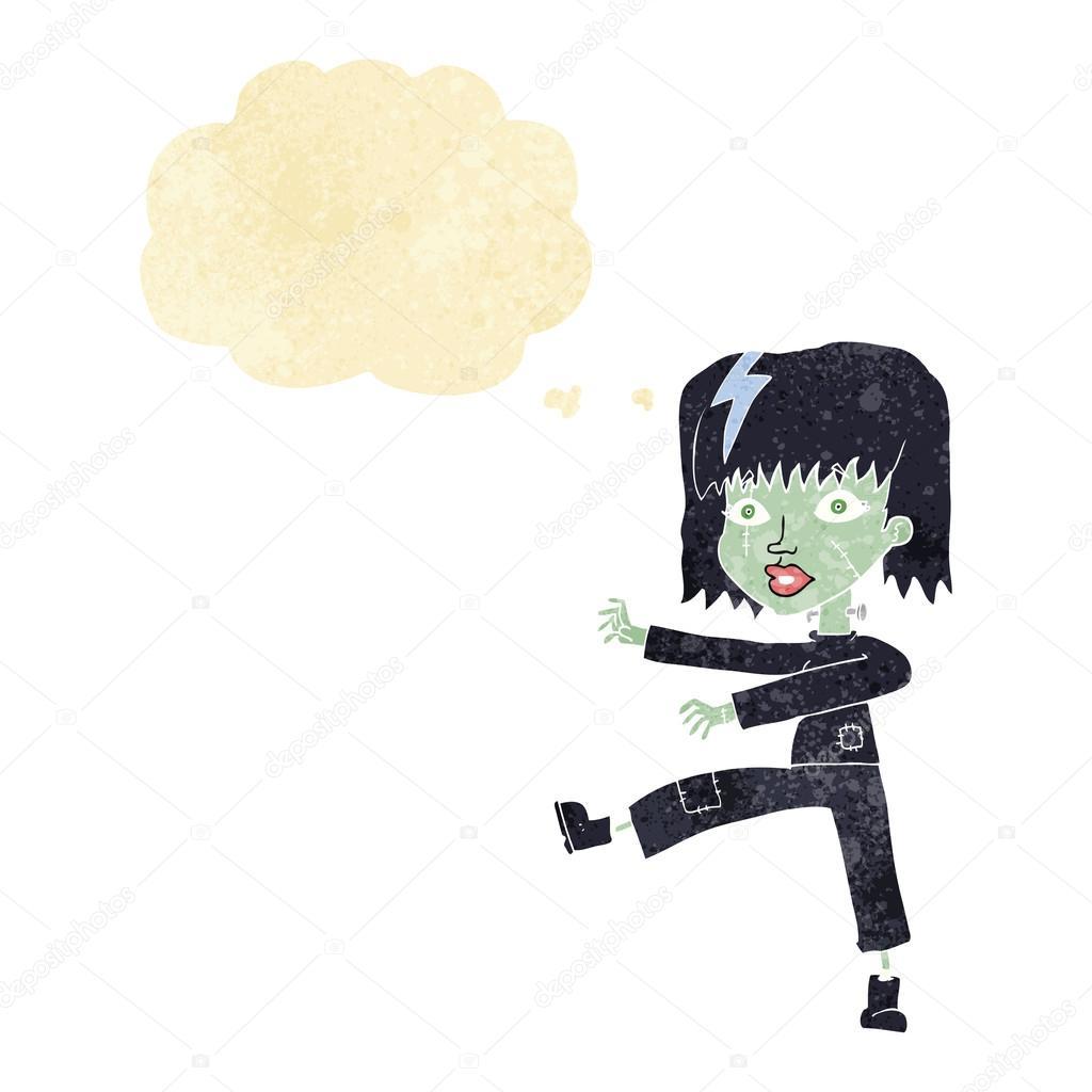 Fille De Dessin Animé Zombie Avec Bulle De Pensée Image