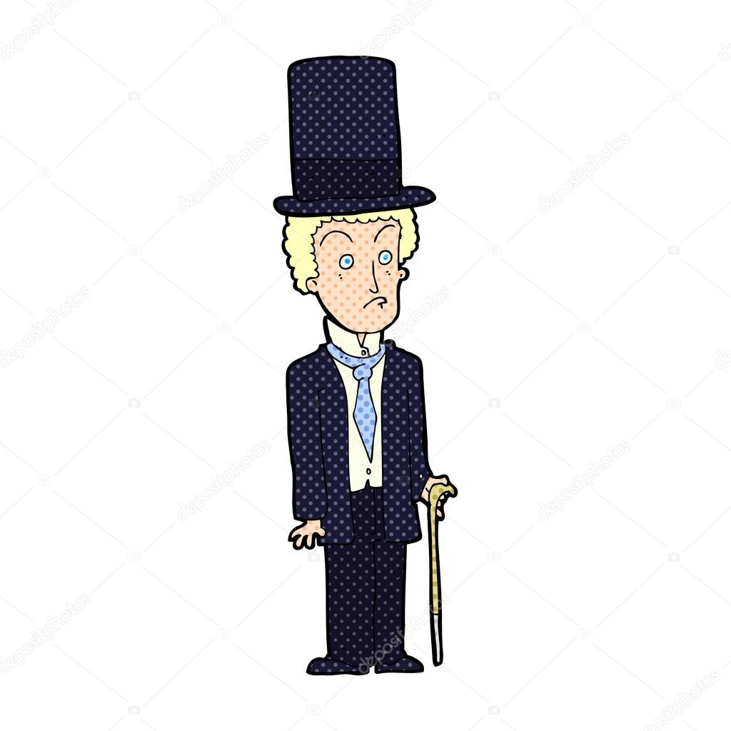 Cartone animato uomo indossa top hat — vettoriali stock