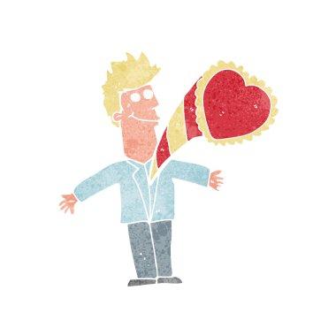 cartoon man with love heart