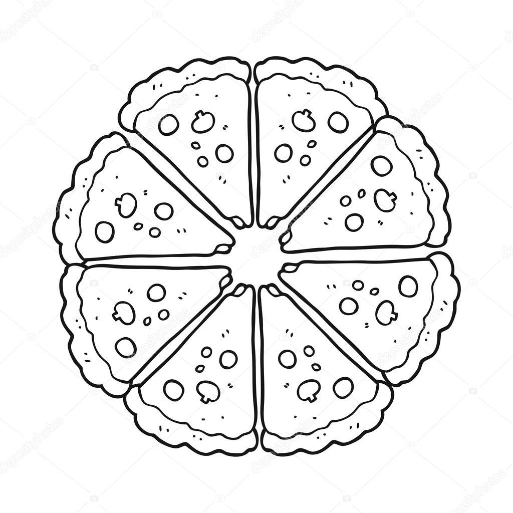 pizza de dibujos animados blanco y negro — Archivo Imágenes ...