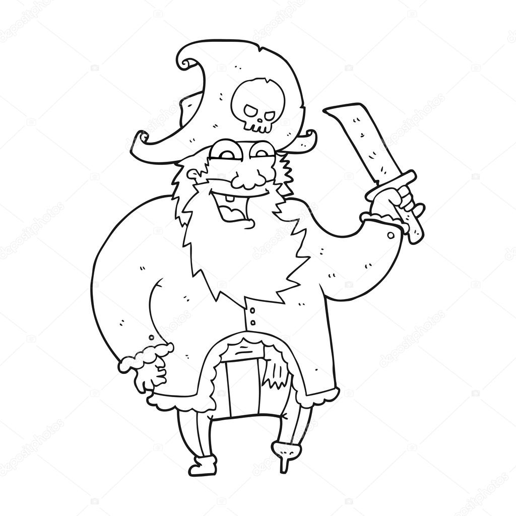 9f33acc0c121a Black and white cartoon pirate captain– stock illustration