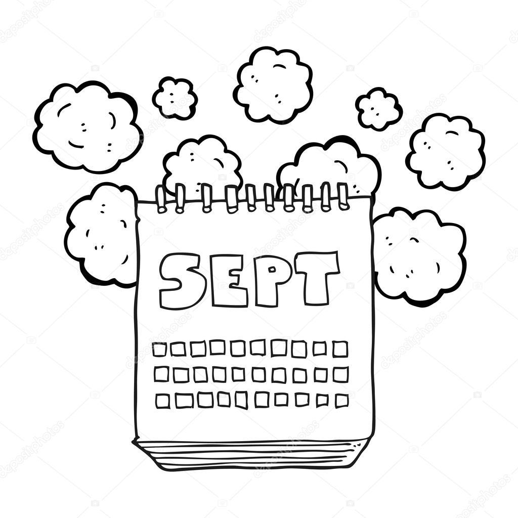Calendario Dibujo Blanco Y Negro.Mes De Mostrar Dibujos Animados Blanco Y Negro De Septiembre