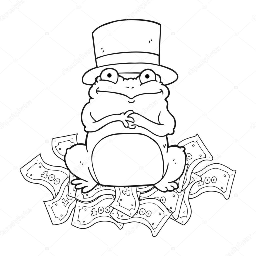 rana ricos dibujos animados blanco y negro en el sombrero — Archivo ...