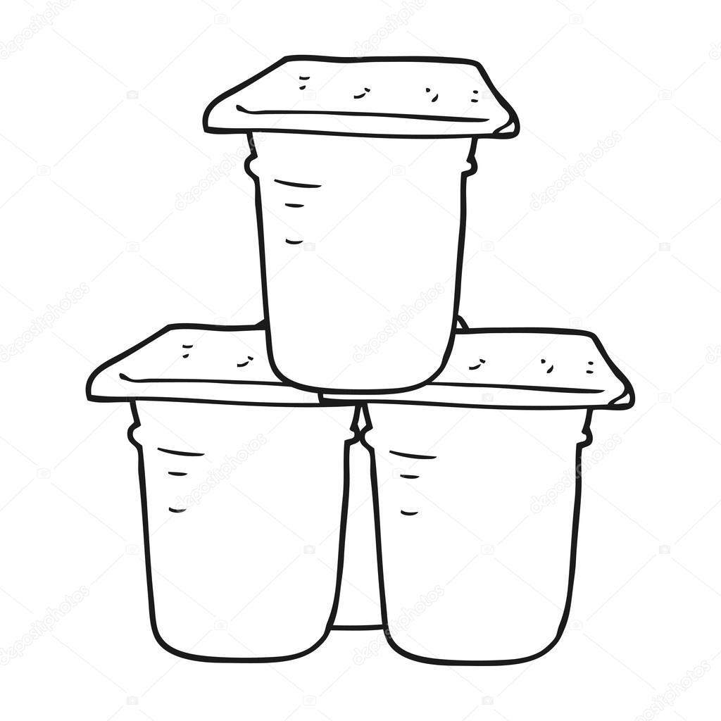 Imágenes Yogurt Para Colorear Potes De Yogur Blanco Y