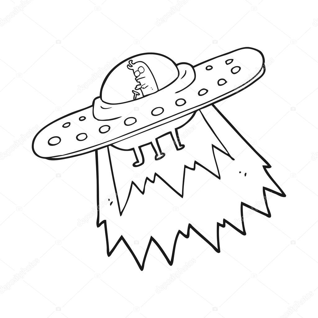 blanco y negro de dibujos animados ufo — Vector de stock ...