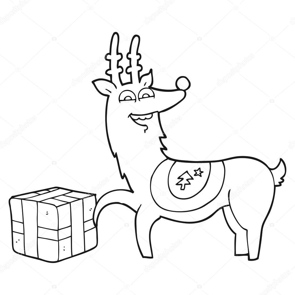 Reno de Navidad de dibujos animados blanco y negro con presente ...