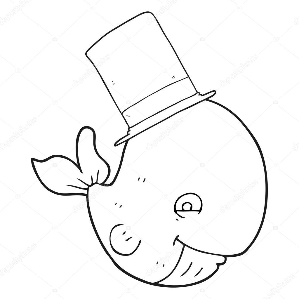 Silindir şapka Siyah Beyaz çizgi Film Balina Stok Vektör