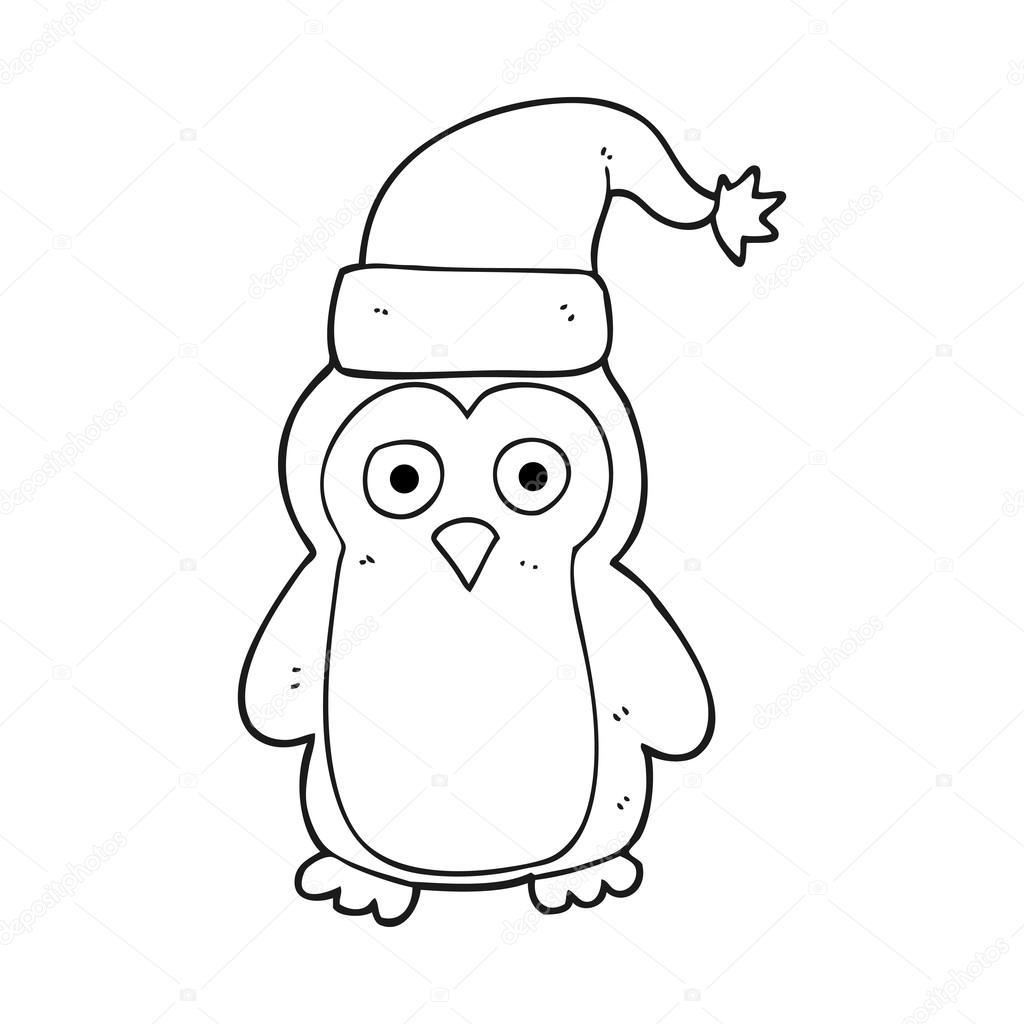 Pingüino De Navidad De Dibujos Animados Blanco Y Negro Archivo