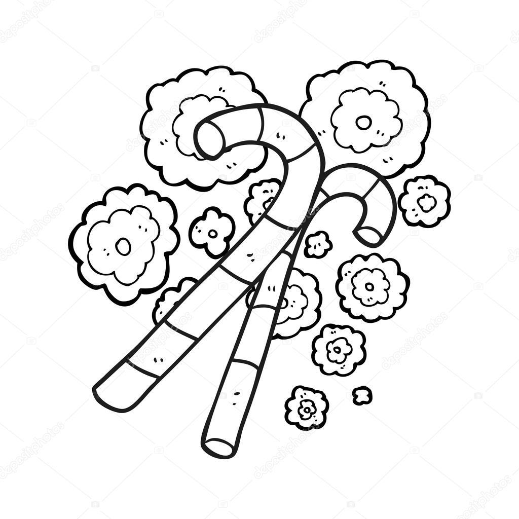 bastones de caramelo blanco y negro de dibujos animados — Archivo ...