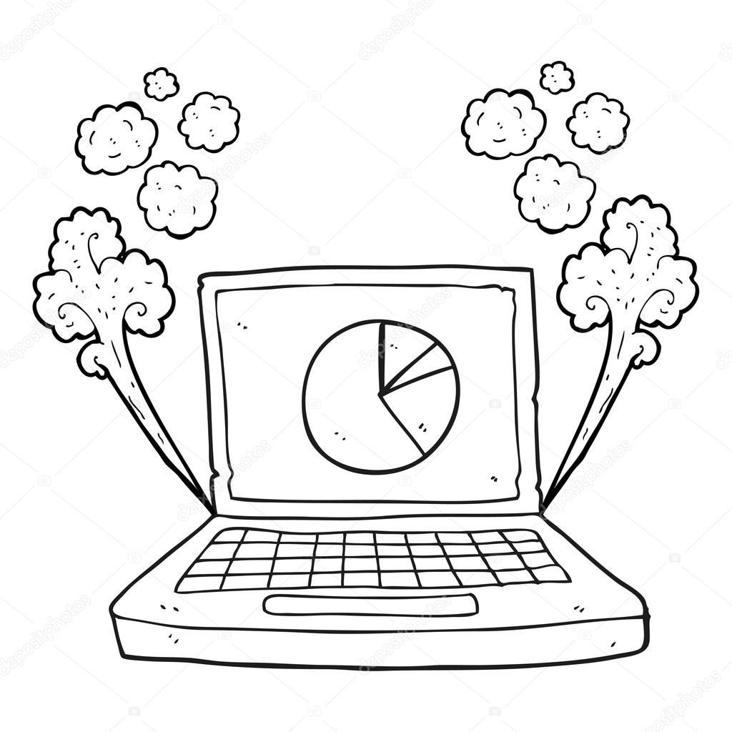 black and white cartoon laptop computer with pie chart