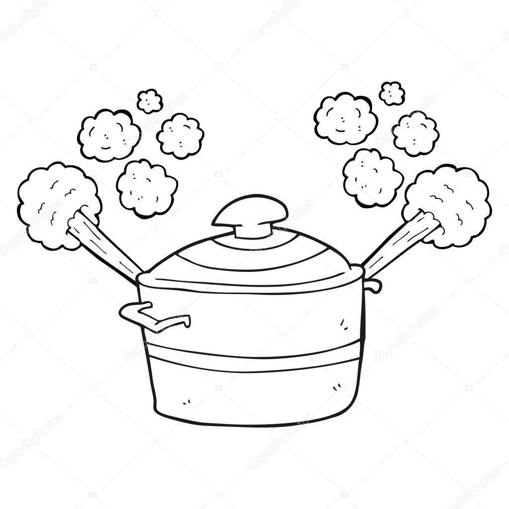 schwarz und weiß cartoon dampfenden Kochtopf — Stockvektor ...