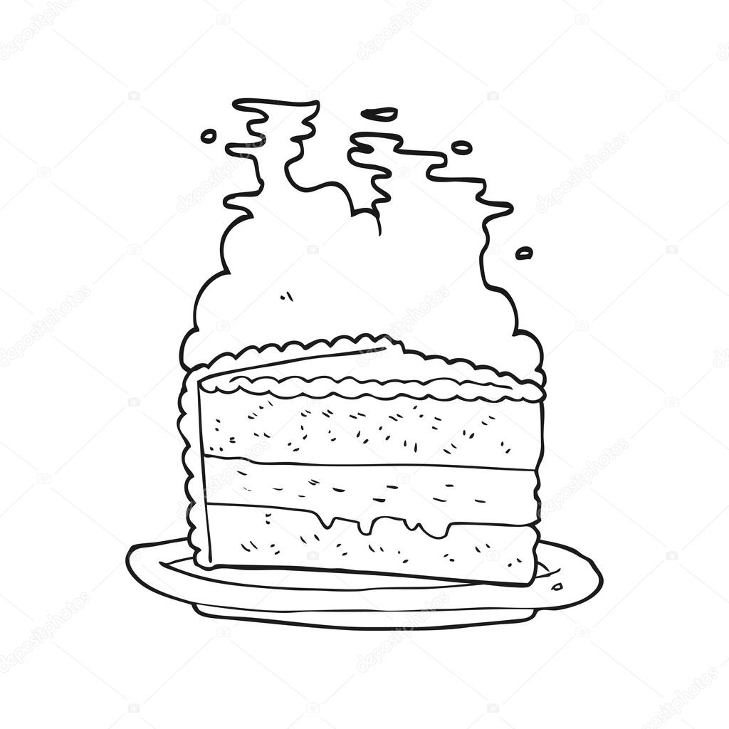 schwarzen und weißen Cartoon-Kuchen — Stockvektor © lineartestpilot ...