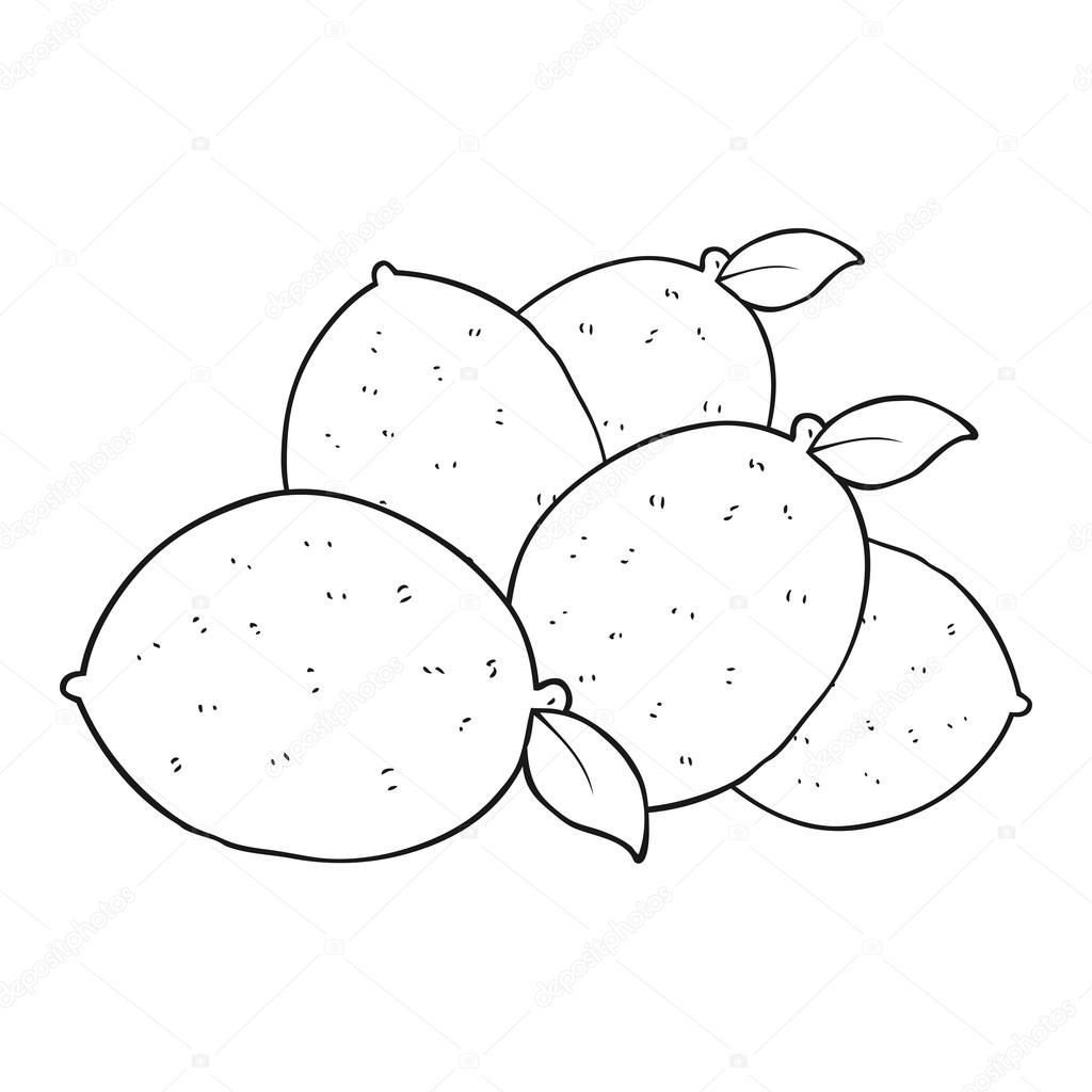 Imágenes Limon Para Colorear Limones De Dibujos Animados Blanco Y