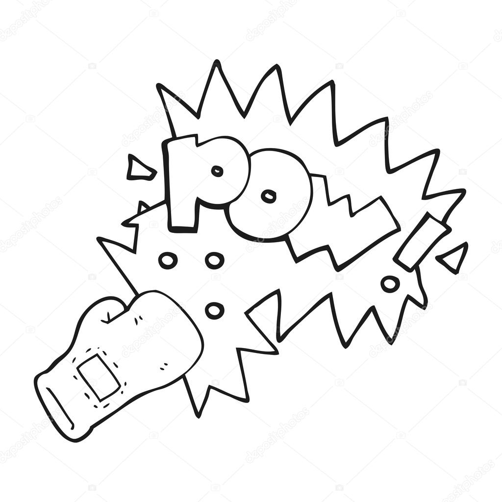 Black And White Cartoon Boxing Glove Punch Stock Vector