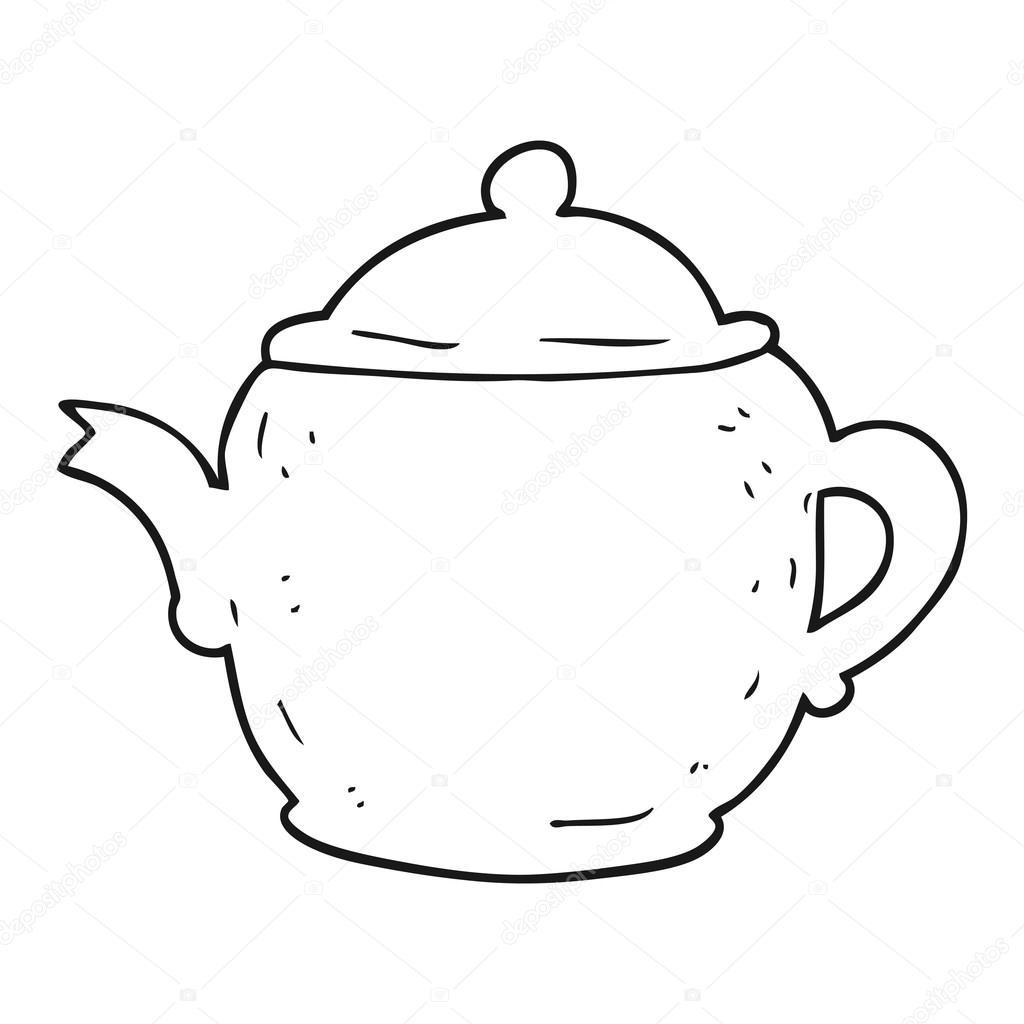eigenzinnige tekening een theepot stockvector