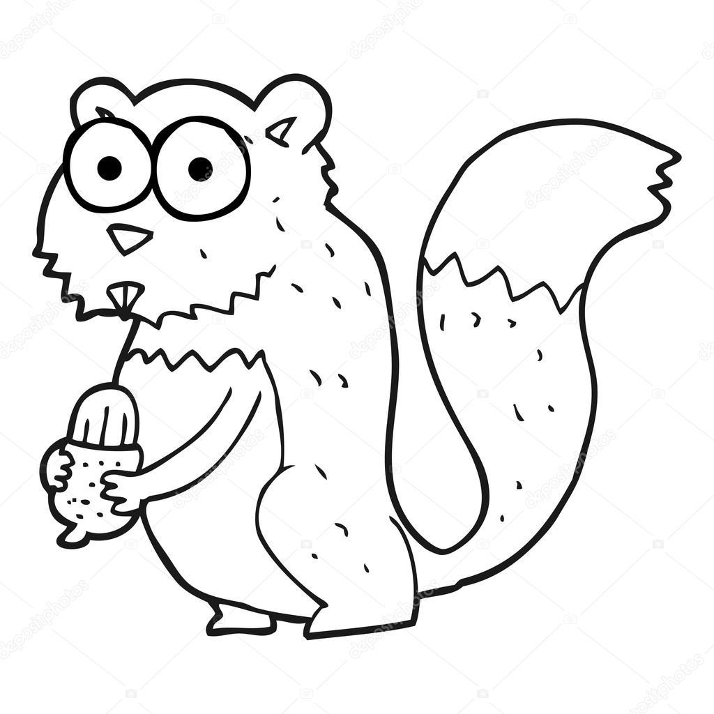 Schwarzen Und Weißen Cartoon Böse Eichhörnchen Mit Nuss
