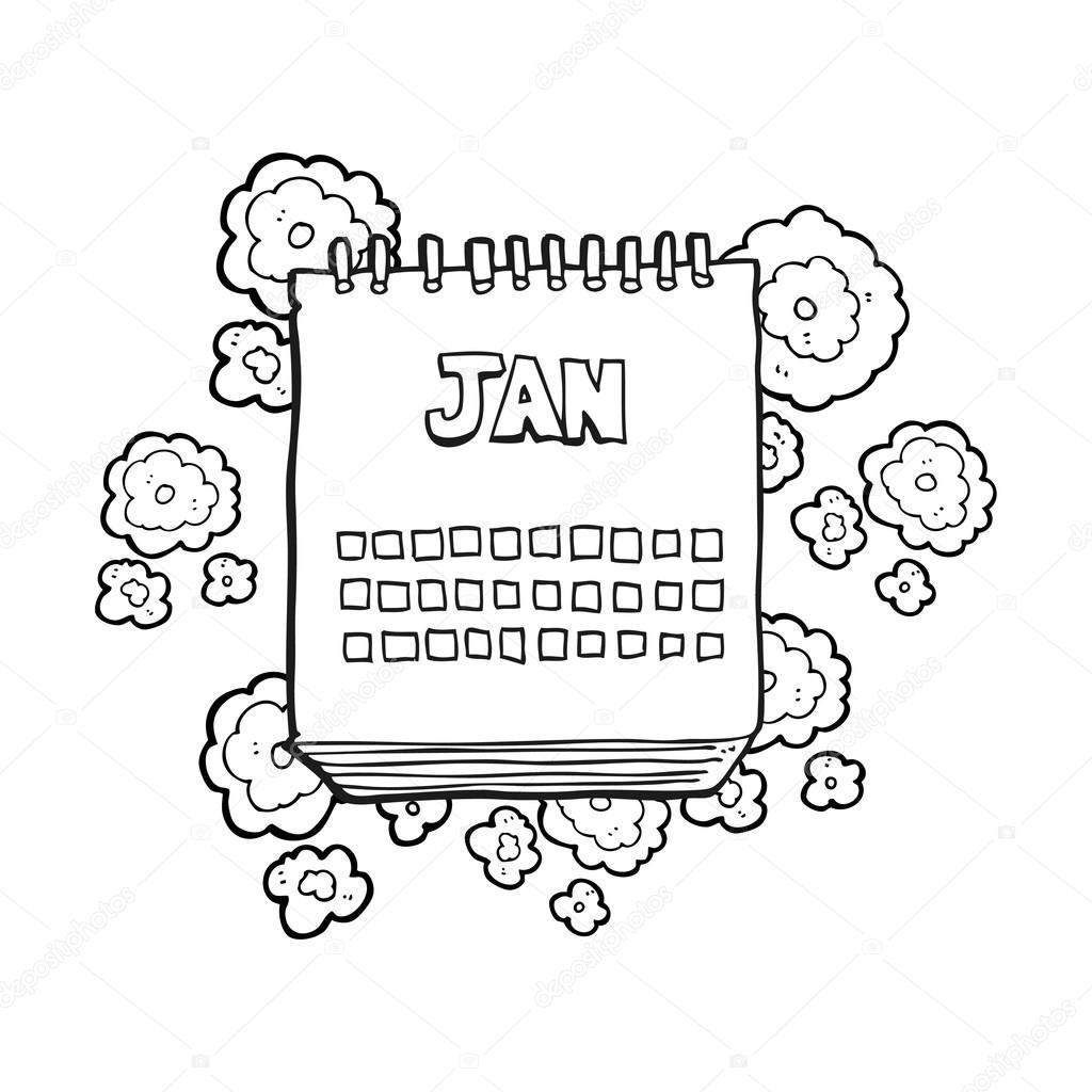 Dessin Anim 18 Mois: Dessin Animé Noir Et Blanc Calendrier Montrant Mois De