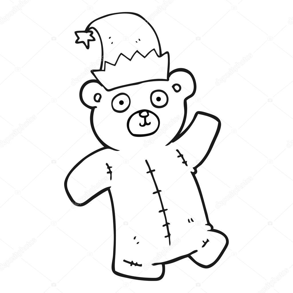 Ours En Peluche Noir Et Blanc Dessin Anime Portant Chapeau De Noel