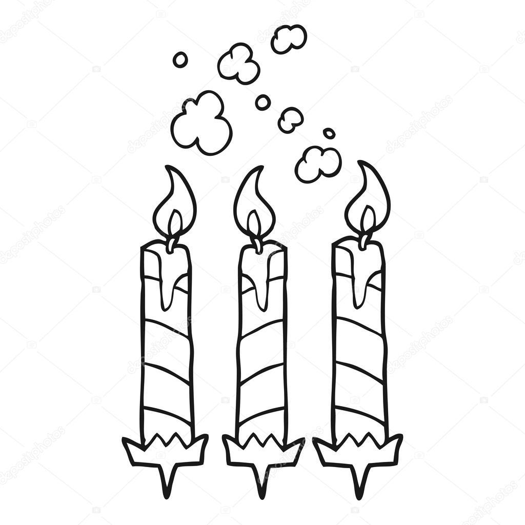 velas de pastel de cumpleaños de dibujos animados blanco y negro ...