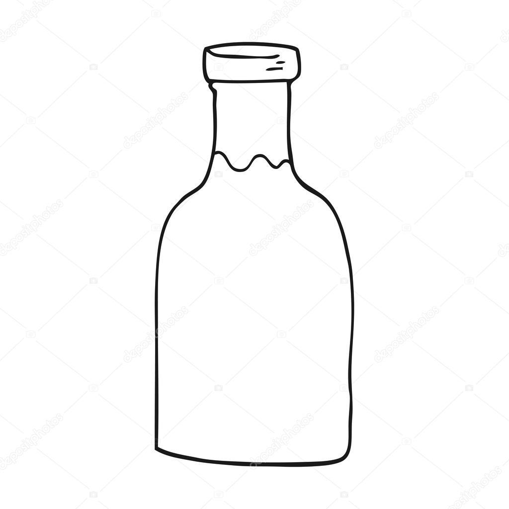 Siyah Beyaz çizgi Film Süt şişesi Stok Vektör Lineartestpilot