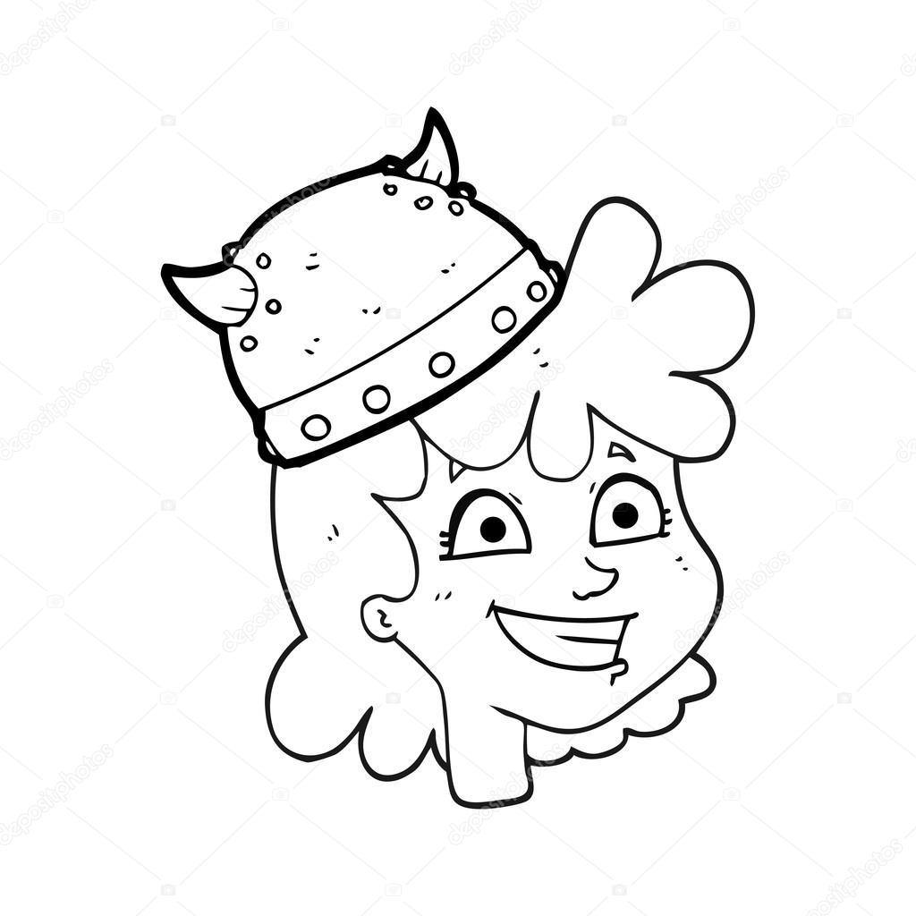 visage de viking femme dessin anim noir et blanc image vectorielle lineartestpilot 96252664. Black Bedroom Furniture Sets. Home Design Ideas