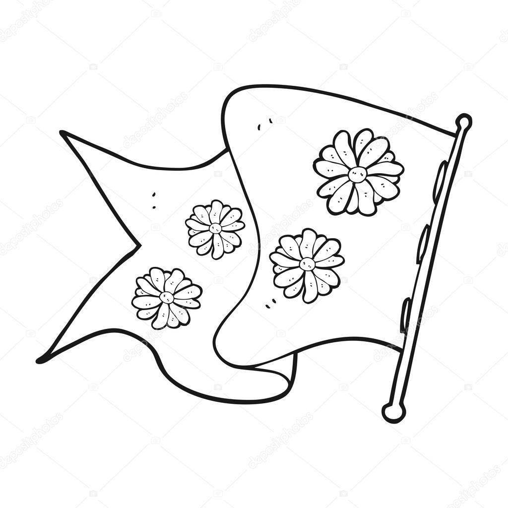 Drapeau De Fleur Noir Et Blanc Dessin Animé Image