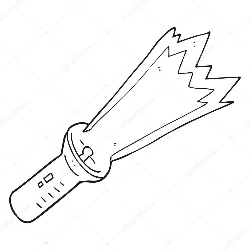 antorcha de dibujos animados blanco y negro — Vector de stock ...