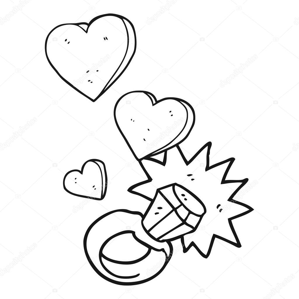 Diamantring gezeichnet  Schwarzen und weißen Cartoon Diamant-Verlobungsring — Stockvektor ...
