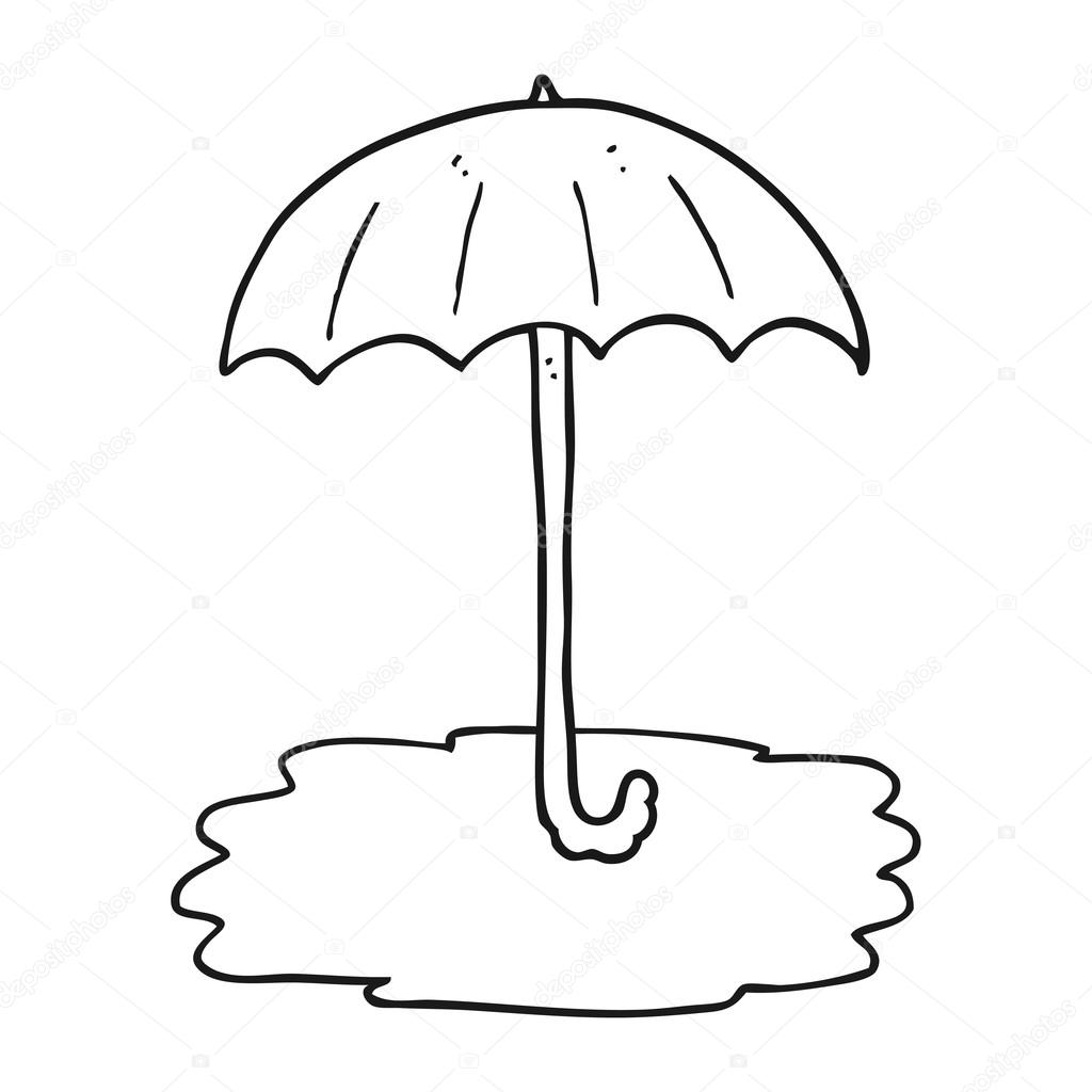 Black And White Cartoon Wet Umbrella Stock Vector