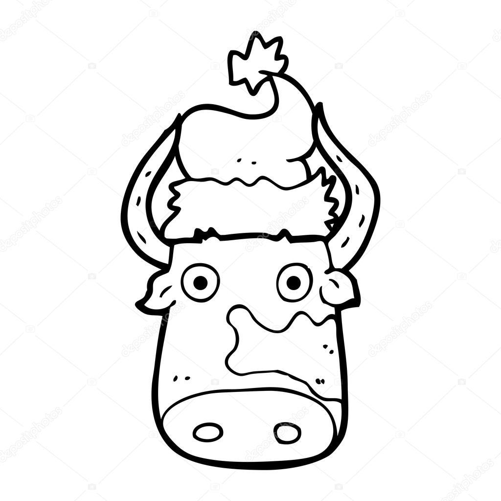 vaca de dibujos animados blanco y negro con sombrero de Navidad ...