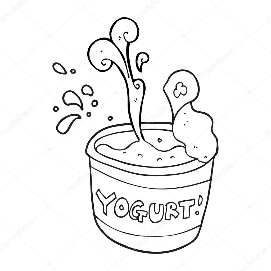 Animado Yogurt Para Colorear Yogur Blanco Y Negro De