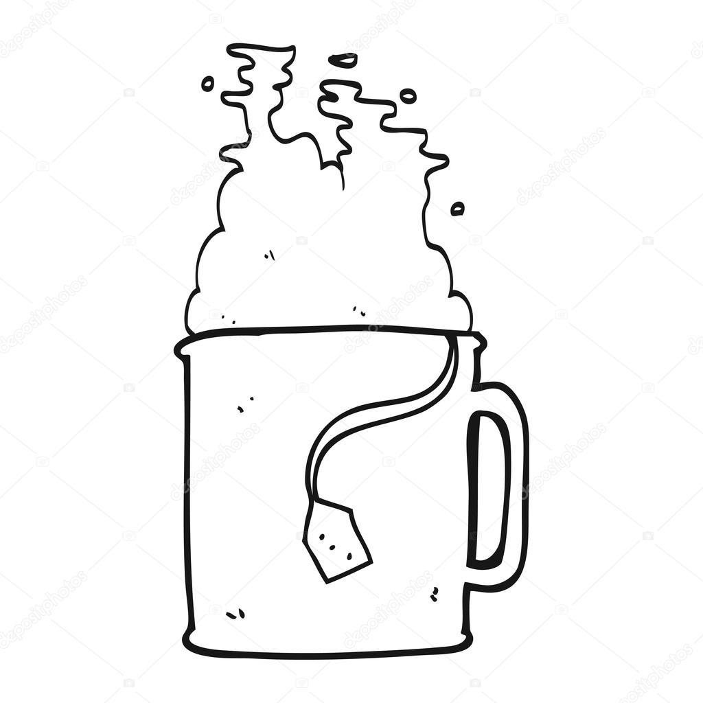 schwarzen und weißen Cartoon Tasse Tee — Stockvektor ...