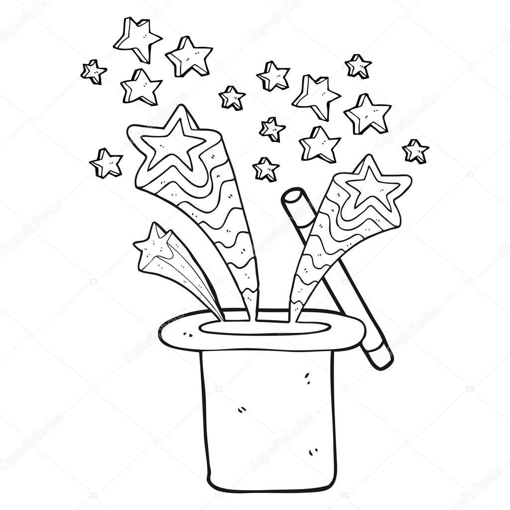 sombrero de Mago blanco y negro de dibujos animados — Vector de ...