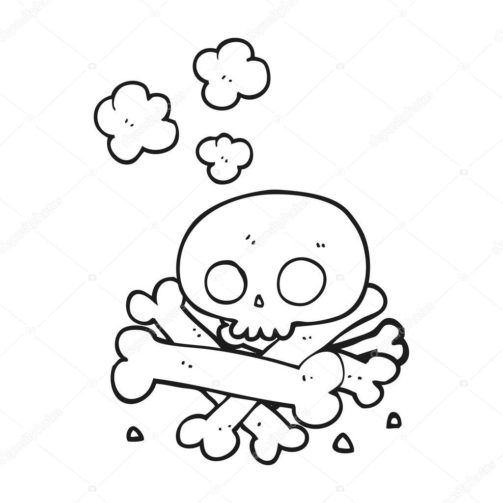 montón de dibujos animados blanco y negro de huesos — Archivo ...