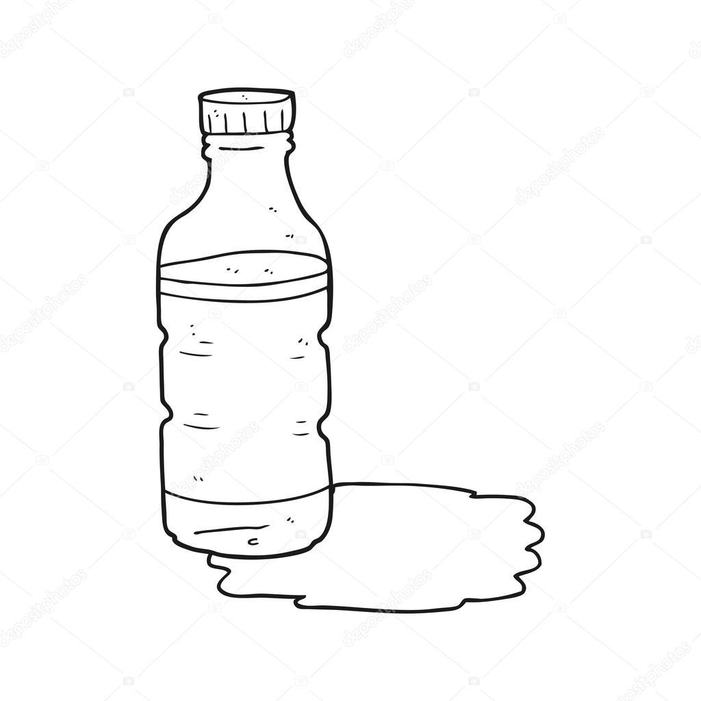 Siyah Beyaz çizgi Film Su şişesi Stok Vektör Lineartestpilot
