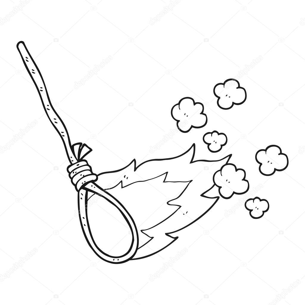 soga de dibujos animados blanco y negro ahorcado en el fuego ...