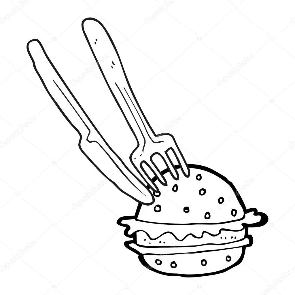раскраска бургер черно белый мультфильм нож и вилка в