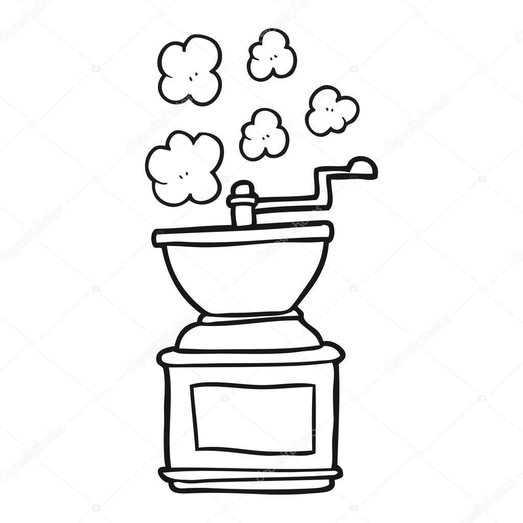 molino de grano de café blanco y negro de dibujos animados — Archivo ...