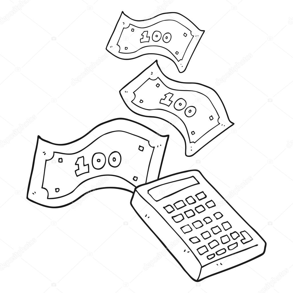black and white cartoon calculator counting money — Stock Vector ...