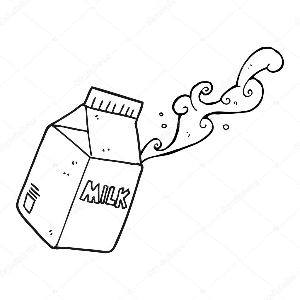 black and white cartoon milk carton u2014 stock vector