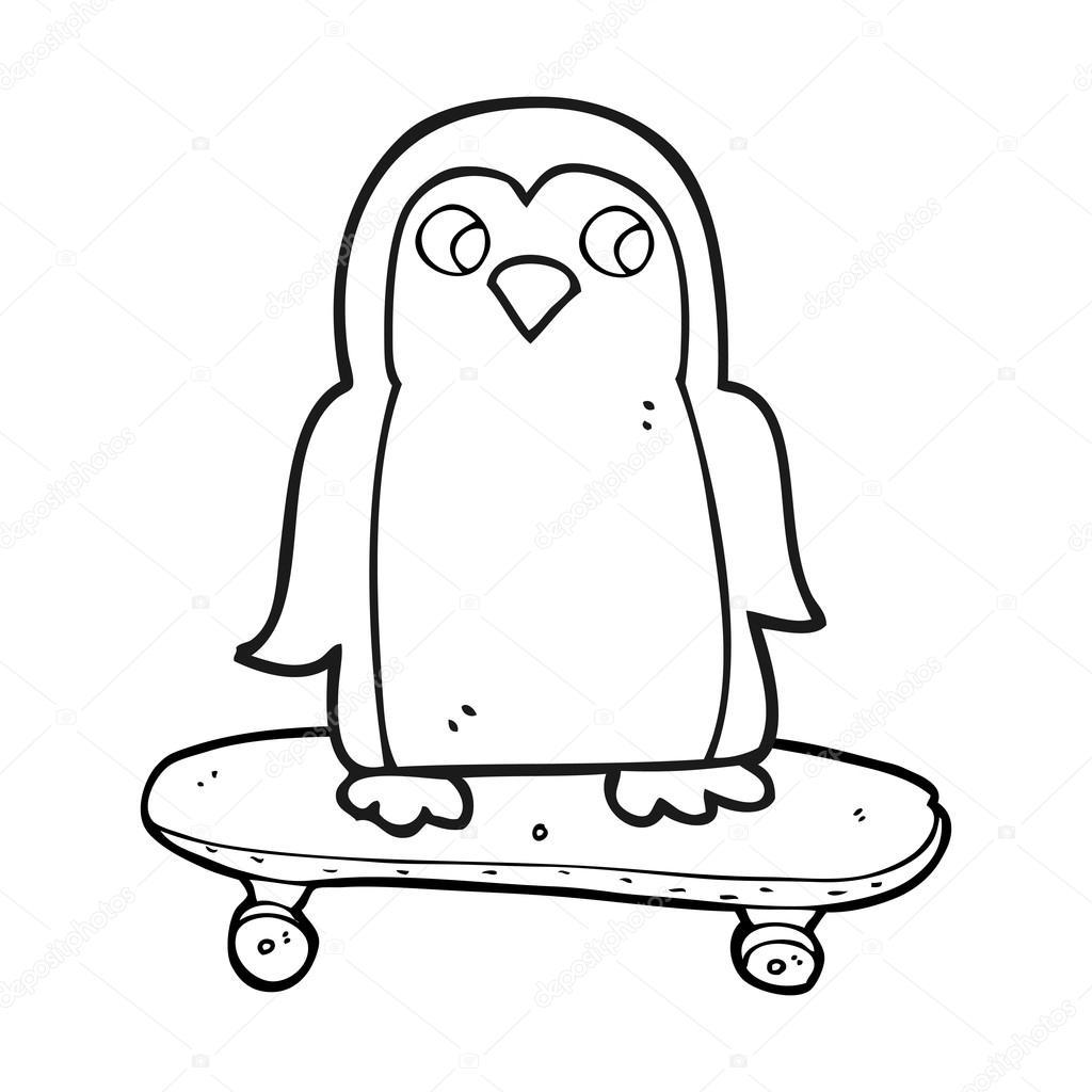 Skateboard De Circonscription Pour Le Pingouin Dessin Animé Noir Et