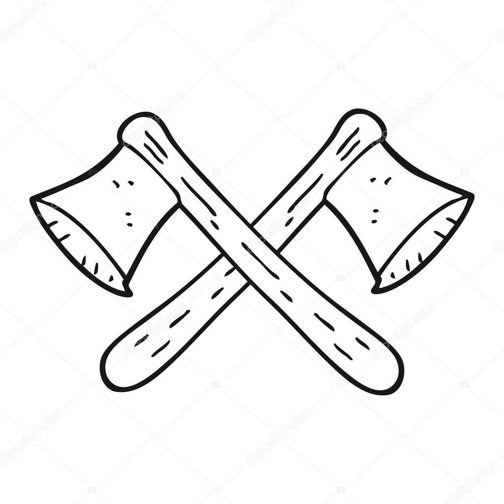 ejes de dibujos animados blanco y negro cruzado — Vector de stock ...