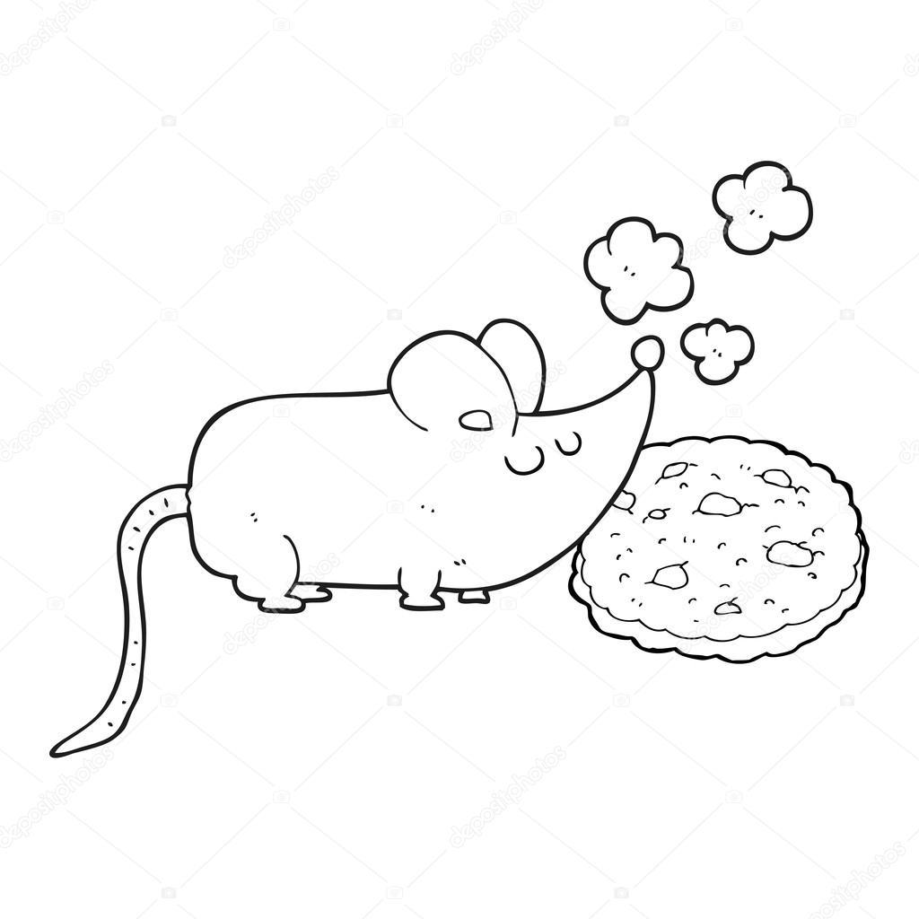 süße schwarze und weiße Cartoon Maus und cookie — Stockvektor ...