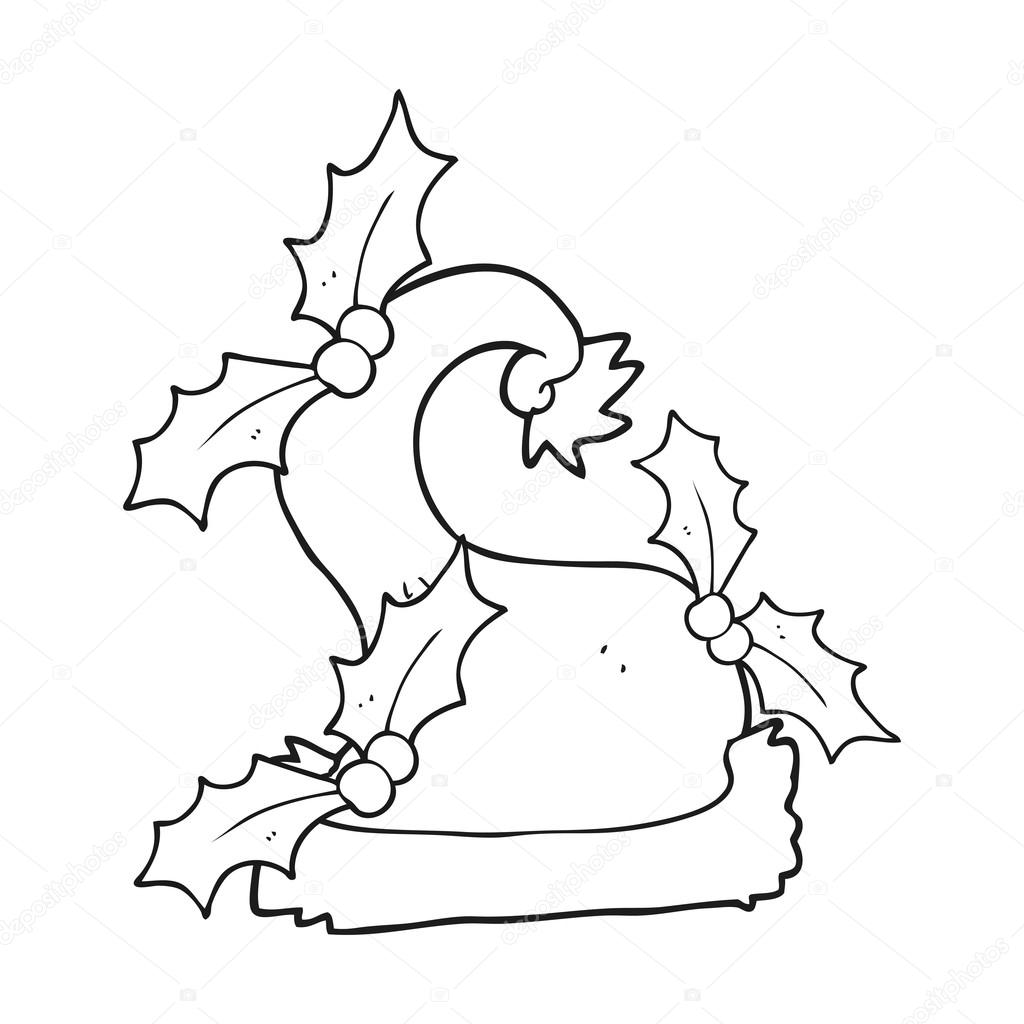 sombrero de acebo de la Navidad de dibujos animados blanco y negro ...