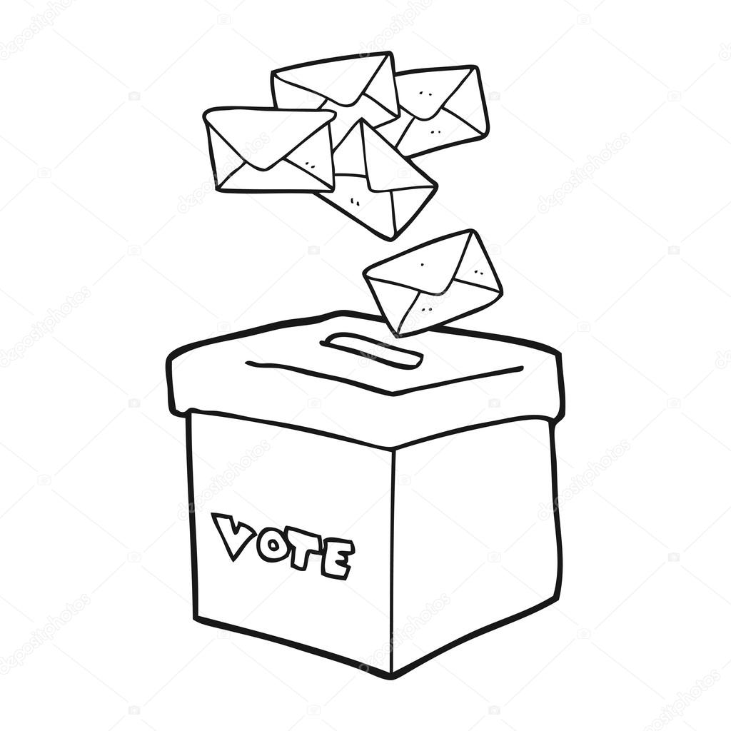 cartoon ballot box