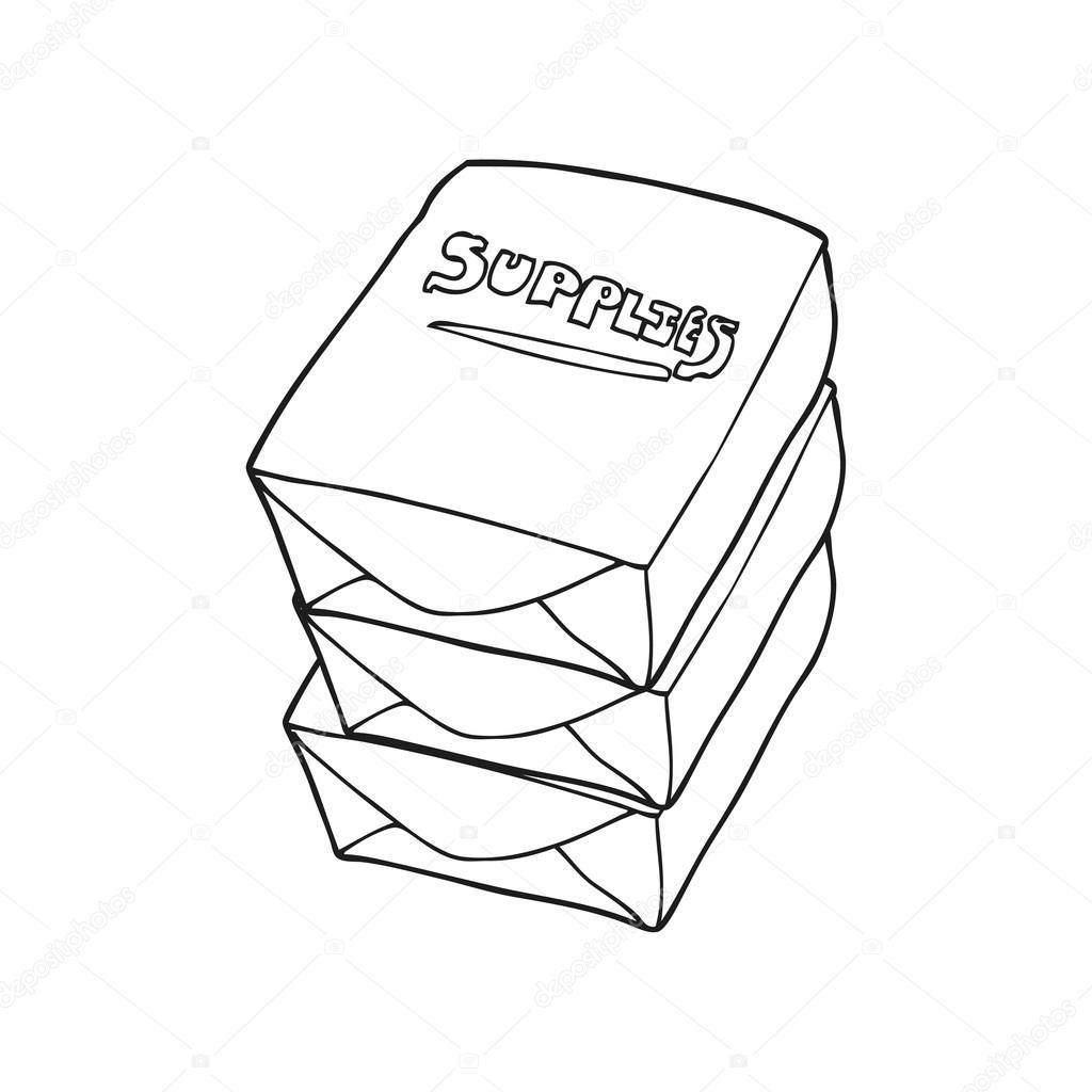 Schwarzen Und Weissen Cartoon Papierstapel Buro Stockvektor